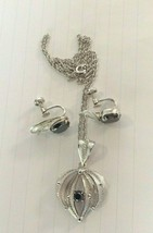 Sterling silver filigree necklace w matching earrings faceted hematite s... - $45.00