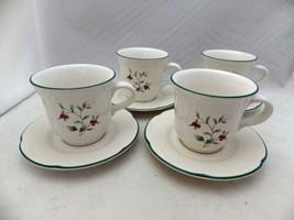 Pfaltzgraff Winterberry pattern - set/lot of 4 Flat Coffee Cups & Saucers  EUC - $14.84