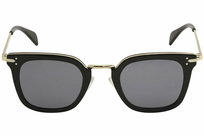 Celine Square Sunglasses CL41402S ANW G8 Black Gold Frame Dark Grey Lens 47mm