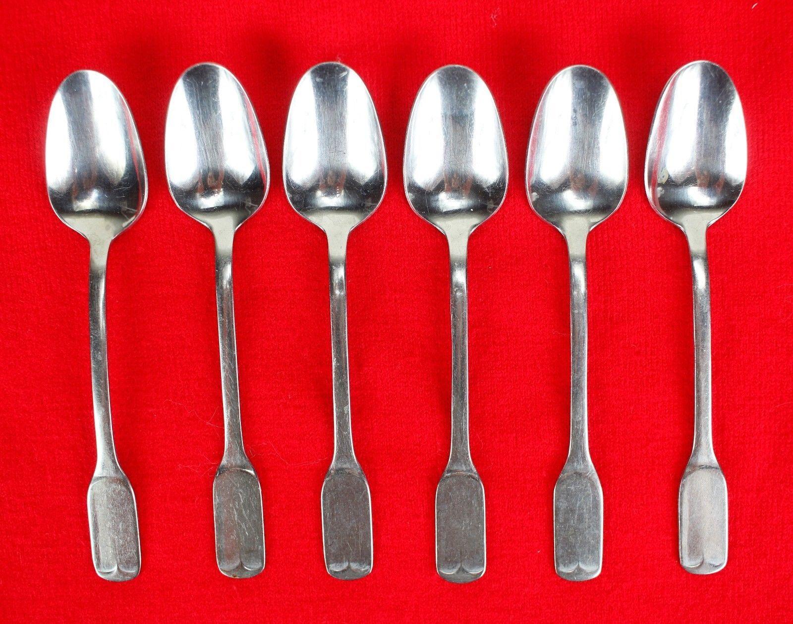 "6X Teaspoons Spoons FB Rogers Stainless Flat Square End Flatware 6"" Tea Spoon"