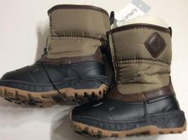 New Carters Toddler Boys Fur LIned Zipup Winter Snow Boots Sz 6 BrownKha... - $412,49 MXN