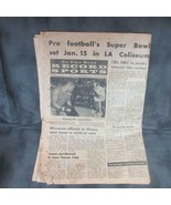 1966 Middletown NY Newspaper, Announcement of first SUPER BOWL in LA Col... - $29.91