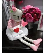 "Valentines Kitty Cat Ballerina Fabric Shelf Sitter Girl Doll Decor 18.5"" - $27.99"
