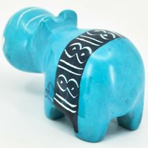 Crafts Caravan Soapstone Blue Hippopotamus Hippo Figurine Made Kenya image 3