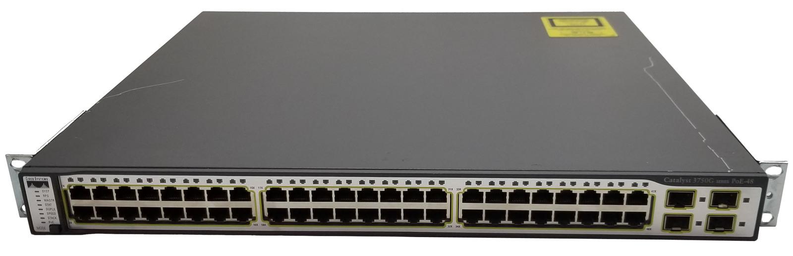 Cisco 3750G 48 Port POE Gigabit Switch C3750G-48PS-S Bin:9