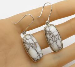 925 Sterling Silver - Vintage Bezel Set Marbled Gemstone Drop Earrings - E2356 - $39.89