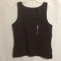 Liz Claiborne Brown Crochet Sleeveless Blouse Top Sz XL Lined - $24.74