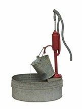 """Melrose International Red, Tin Pump with Pail Fountain 18.25""""L x 29.5""""H ... - $144.16"""
