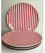 """Set of Four Mark & Graham CANDY CANE Salad Plates 8.5"""" NWOT RED WHITE GOLD - $49.00"""