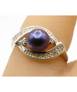 925 Sterling Silver - Vintage South Sea Pearl & CZ Eye Design Ring Sz 5 ... - $24.95