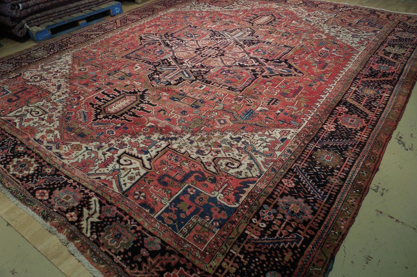 11x14 Semi-Antique Red Heriz Persian Wool Hand-Knotted Rug