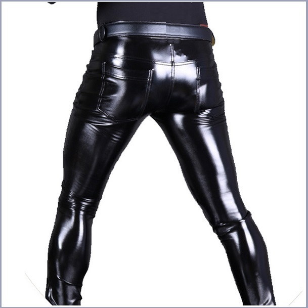 "Custom Men's BLACK Skin Tight ""Wet Look"" Zip Up Stretch Faux Latex Leather Pants"