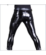 "Men's BLACK Skin Tight ""Wet Look"" Front Zip Stretch Faux Latex Leather P... - £72.21 GBP"