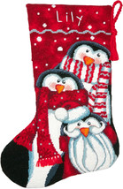 "Dimensions Stocking Needlepoint Kit 16"" Long-Holiday Penguin Trio Stitch... - $38.35"
