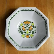 Johnson Brothers Greenfield 8 Inch Serving Bowl White Green Orange Mosaic  - $7.87