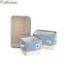 FULLLOVE® Blue Striped Storage Basket for Books Toys Clothing Organizer ... - $13.35+