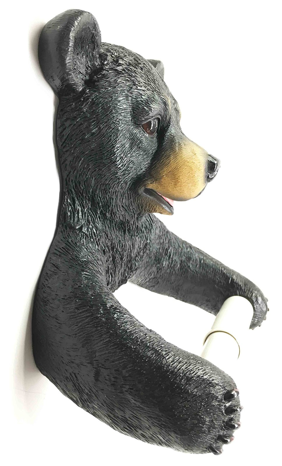 "Ebros Whimsical Black Bear Toilet Paper Holder Bathroom Wall Decoration 8.25""Tal"