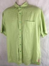 Tommy Hilfiger Men's Size M Linen Green Button Up Short Sleeve Pocket Front - $19.75