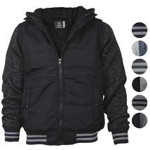 Vertical Sport Men's Athletic Sherpa Fleece Lined Two Tone Zip Up Hoodie Jacket