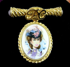 1996 1997 Avon President's Club Porcelain Portrait Brooch Pin Pc Goldtone Dangle - $18.99