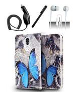 Alcatel 7 Folio Blue Butterfly Design Flip Pouch Magnetic Wallet Case Cover - $12.99