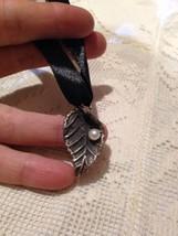 Handmade Antique Vintage 925 Sterling Silver Leaf Real Pearl Pendant Choker - $44.55