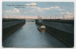 Great Lakes Steamer Iron Ore Docks Duluth Minnesota 1910c postcard - $6.44