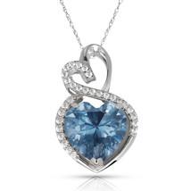 4.20 Carat Halo Aquamarine Double Heart Gemstone Pendant & Necklace14K W... - $150.73