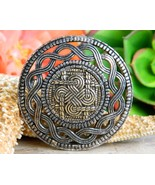 Miracle Celtic Knot Scottish Brooch Pin Pewter Gold Plated Shield Kilt - $21.95