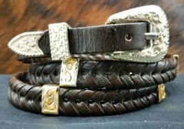 DARK BROWN HATBAND Braided LEATHER with Antique GOLD Rectangle CONCHOS H... - $24.13