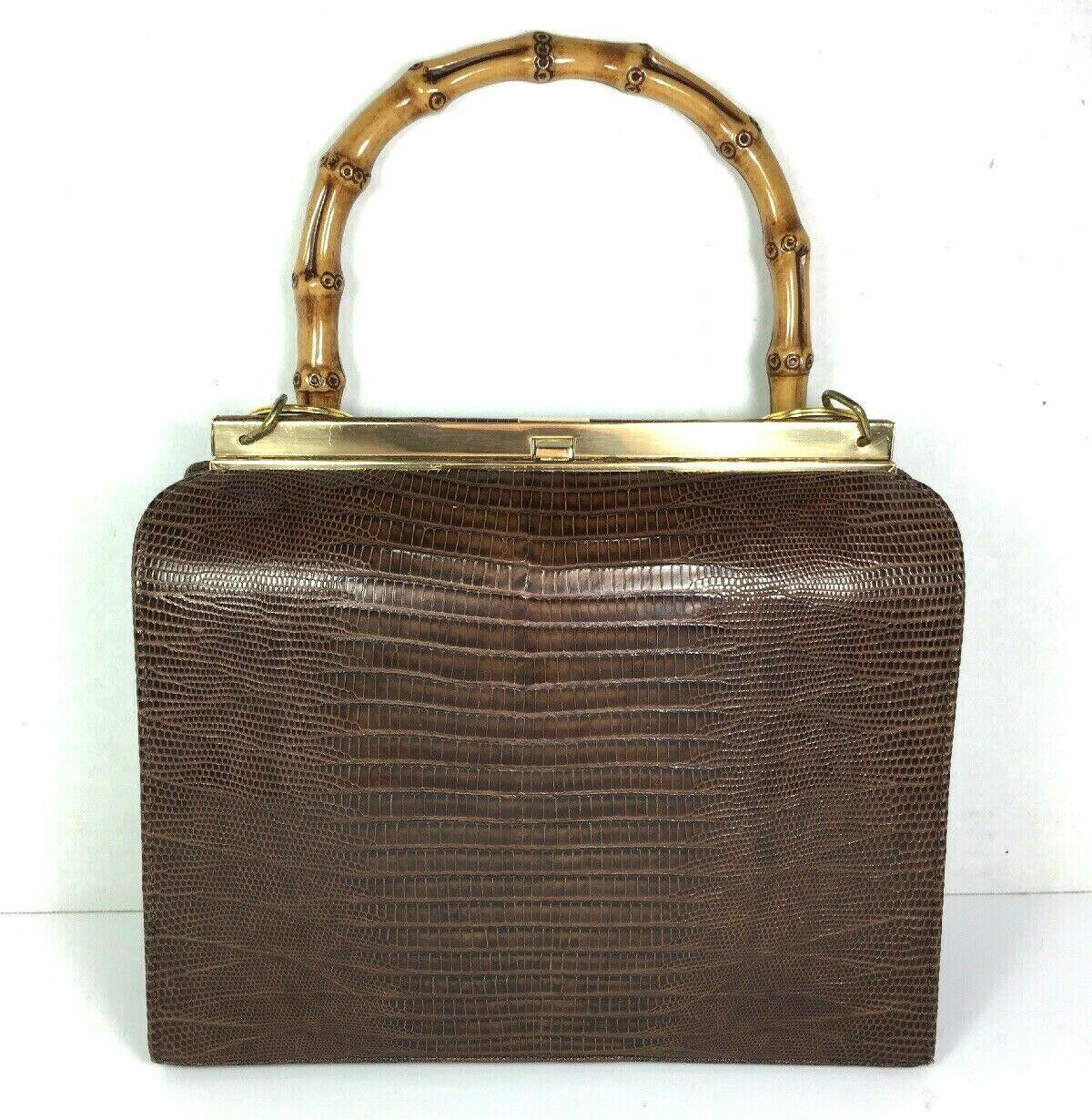 Bellestone Vtg Brown Reptile Print Leather Bamboo Handle Coin Purse Mirror Comb