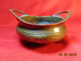 One (1), Small Chinese Bronze Incense Burner, Censer. Tri-Footed, with T... - $11.99