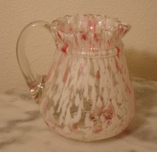 Northwood  Pink and White Spatter Aurora Ring Neck Handled Creamer - $116.88