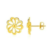 14k Yellow Gold 0.36in Women's Unique Flower Motif Post Earrings - $307.90