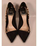 Christian Dior Womens Leopard Print Calfhair Suede Sponge Pointed Toe Pu... - $396.00