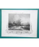 FREEZING WINTER Holland Frozen Stream Wood Gatherers - 1840s Engraving P... - $12.96