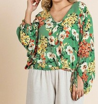 Umgee Top 2X Green Asian Floral Tie Dolman Sleeve Boho Peasant Plus Size - $37.39