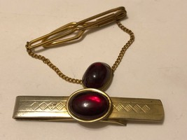 2 Vintage ANSON Ruby Red Stone Cabochon Tie Clips Gold Tone - $19.75