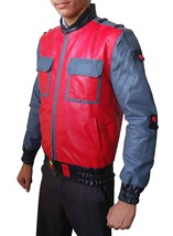 Marty McFly Back To The Future 2 Michael J Fox Red Bomber Faux Leather Jacket image 2