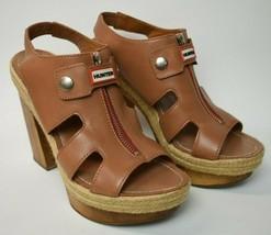 Womens Hunter Morant Platform Slingback Sandals Leather Wood Chunky Heel US 9 - $29.70