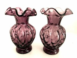 Fenton Amethyst Melon Vases Two Purple Ribbed Ruffle Top Art Glass 5.5 i... - $66.33