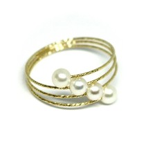 18K YELLOW GOLD MAGICWIRE BAND RING, ELASTIC WORKED MULTI WIRES, DIAGONAL PEARLS image 2