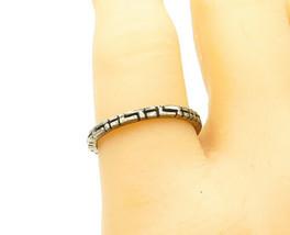 925 Sterling Silver - Vintage Greek Key Etched Pattern Band Ring Sz 7 - ... - $19.64