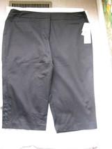 Larry Levin Women Black Stretch Crop Capri Pants Size 24 New - $34.65