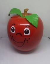 Vtg Fisher Price Happy Apple Chime Short Stem Baby Toy Wobble Roly Poly USA - $30.84