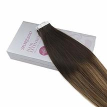 Moresoo 20 Inch Tape in Human Hair Extensions Glue on Hair Balayage Color Off Bl image 3