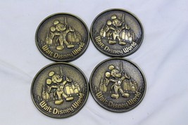 "4 Walt Disney World Mickey Mouse Metal Drink Coasters 3.25"" Diameter - $23.52"