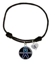 Custom Colon Cancer Awareness Black Leather Unisex Bracelet Jewelry Pick Charm - $13.94