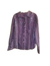 Purple Black Stripe Multi-Color Long Sleeve Button Down Shirt Womens Lar... - $14.85