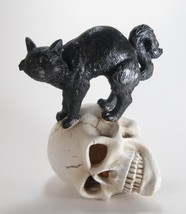 """Black Cat Standing on Skull with Lighted Eyes Halloween Figurine 8""""T - $23.71"""